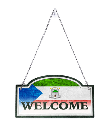 Equatorial Guinea welcomes you! Old metal sign isolated on white
