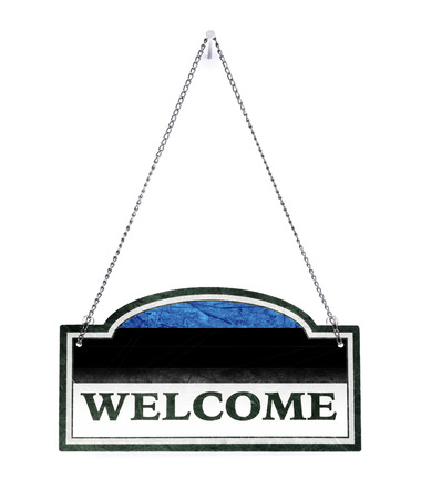 Estonia welcomes you! Old metal sign isolated on white