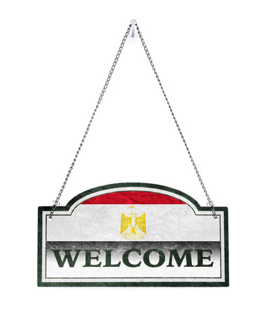 Egypt welcomes you! Old metal sign isolated on white