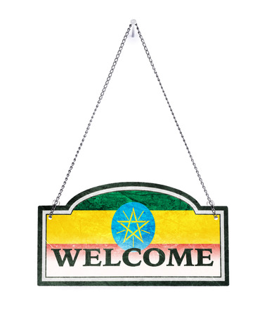 Ethiopia welcomes you! Old metal sign isolated on white Banco de Imagens