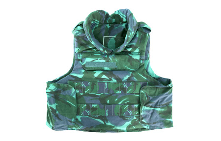 Camouflage, military body armor, isolated on white