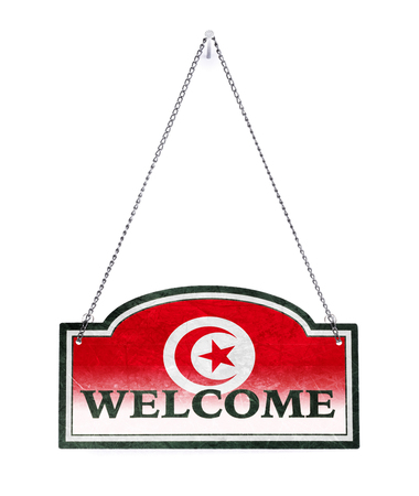 Tunisia welcomes you! Old metal sign isolated on white