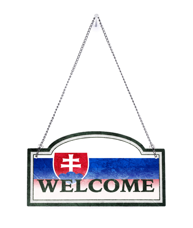 Slovakia welcomes you! Old metal sign isolated on white