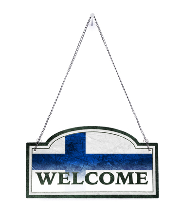 Finland welcomes you! Old metal sign isolated on white Imagens - 121676007