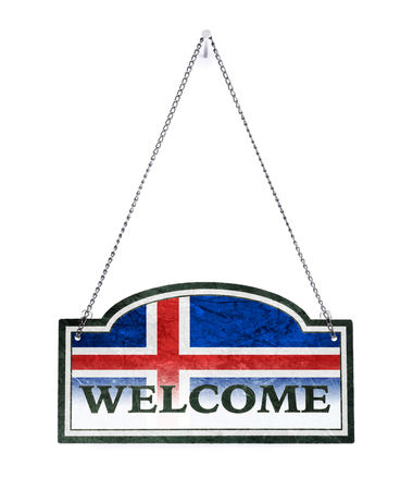 Iceland welcomes you! Old metal sign isolated on white