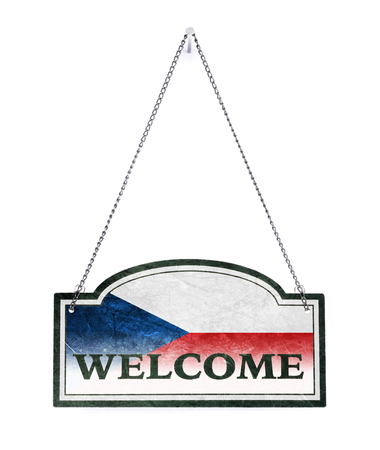 Czech Republic welcomes you! Old metal sign isolated on white
