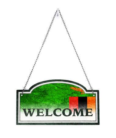 Zambia welcomes you! Old metal sign isolated on white Imagens - 121676083