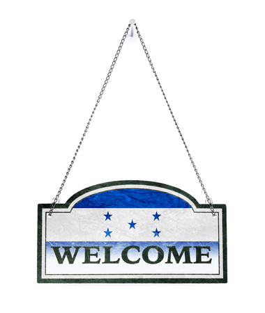 Honduras welcomes you! Old metal sign isolated on white