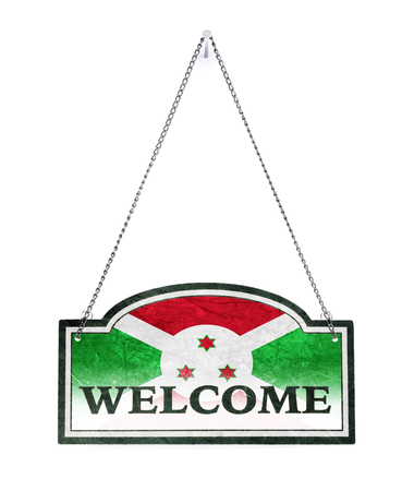Burundi welcomes you! Old metal sign isolated on white Imagens - 121994970
