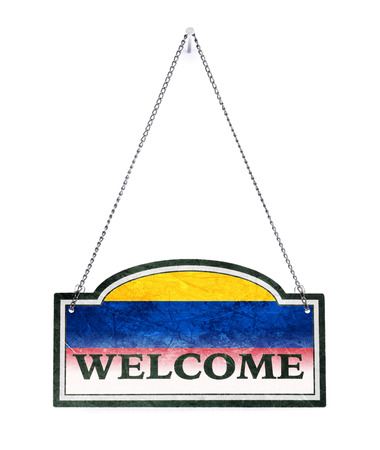 Colombia welcomes you! Old metal sign isolated on white Banco de Imagens