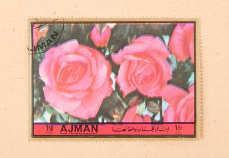UNITED ARAB EMIRATES - CIRCA 1972: A stamp printed in the United Arab Emirates shows a tulip, circa 1972 Stock Photo - 121980090