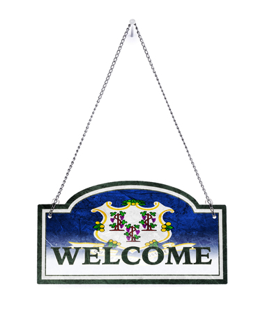 Connecticut welcomes you! Old metal sign isolated on white Imagens - 121965293