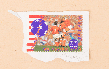 NETHERLANDS - CIRCA 1994: A stamp printed in the Netherlands shows the Dutch soccerteam at the World Championship soccer in 1994, circa 1994