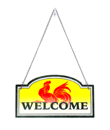 Wallonia welcomes you! Old metal sign isolated on white