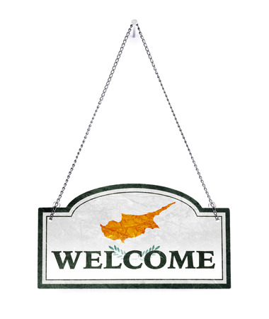 Cyprus welcomes you! Old metal sign isolated on white
