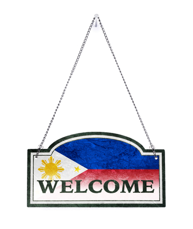 The Philippines welcomes you! Old metal sign isolated on white Banco de Imagens