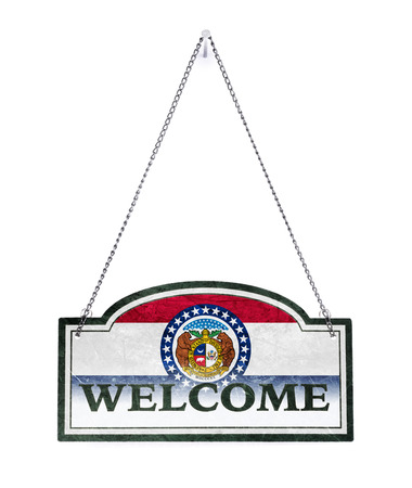 Missouri welcomes you! Old metal sign isolated on white