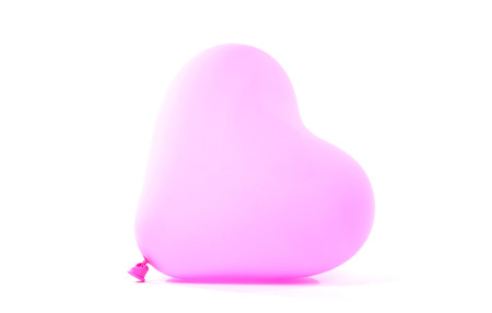 Pink baloon heart, isolated on white background Stock Photo
