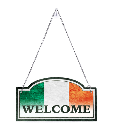 Ireland welcomes you! Old metal sign isolated on white Banco de Imagens