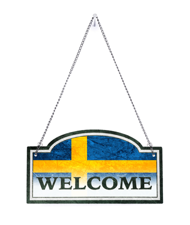 Sweden welcomes you! Old metal sign isolated on white