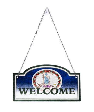 Virginia welcomes you! Old metal sign isolated on white Reklamní fotografie