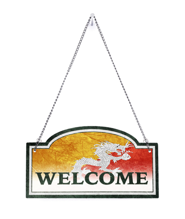 Bhutan welcomes you! Old metal sign isolated on white
