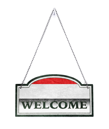 Yemen welcomes you! Old metal sign isolated on white