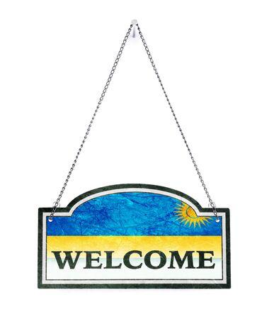 Rwanda welcomes you! Old metal sign isolated on white Banco de Imagens