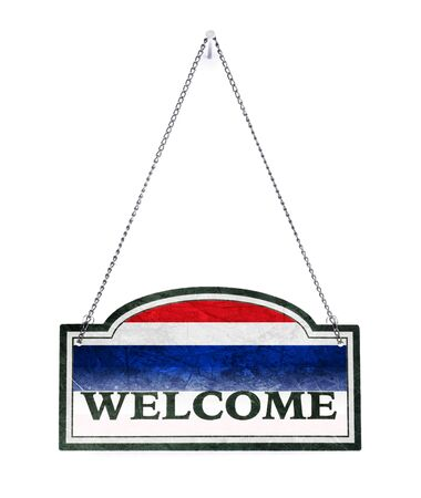 Thailand welcomes you! Old metal sign isolated on white Banco de Imagens