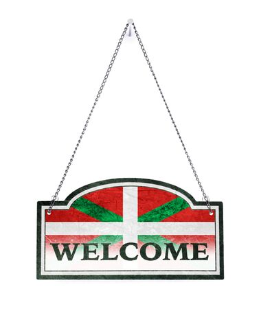 Basque Country welcomes you! Old metal sign isolated on white Stock Photo - 124483219
