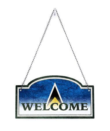 Saint Lucia welcomes you! Old metal sign isolated on white Stock Photo