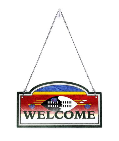 Swaziland welcomes you! Old metal sign isolated on white Banco de Imagens