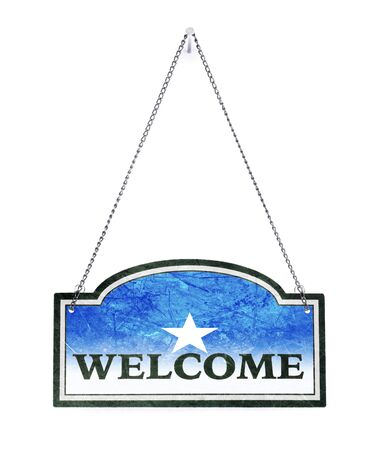 Somalia welcomes you! Old metal sign isolated on white