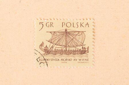 POLAND - CIRCA 1970: A stamp printed in Poland shows an old boat, circa 1970