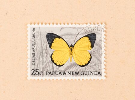 PAPUA NEW GUINEA - CIRCA 1980: A stamp printed in Papua New Guinea shows a butterfly, circa 1980 Stock Photo - 127114278