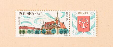 POLAND - CIRCA 1970: A stamp printed in Poland shows a large building, circa 1970 写真素材