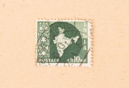 INDIA - CIRCA 1970: A stamp printed in India shows a map of the country, circa 1970