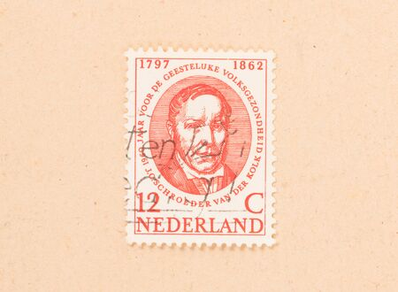 THE NETHERLANDS - CIRCA 1960: A stamp printed in the Netherlands shows a man, circa 1960