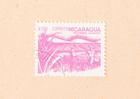 NICARAGUA - CIRCA 1983: A stamp printed in Nicaragua shows teh agrarian reforms, circa 1983
