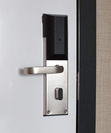 Hotel door with automatic lock for visitor card, the Netherlands