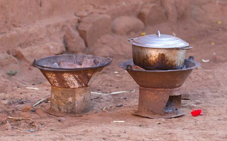 Cooking pot in use, dinner in Madagascar