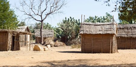 Typical malgasy village - African hut - Southern Madagascar