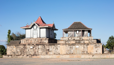 Antananarivo ,Madagascar - July 22, 2019 - Royal tombs at the Rova of Antananarivo, a royal palace complex (rova) in Madagascar that served as the home of the sovereigns of the Kingdom of Imerina