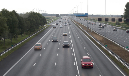 Hoofddorp, the Netherlands, july 20, 2019 - Highway leading to Schiphol, the largest airport in the Netherlands on july 20, 2019
