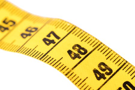 Measuring tape isolated on white, selective focus on 48