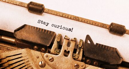 Stay curious, written on an old typewriter, vintage