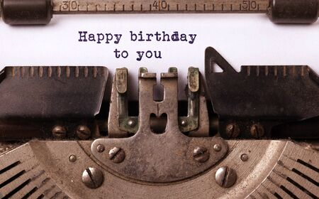 Happy birthday to you, written on an old typewriter, vintage 스톡 콘텐츠