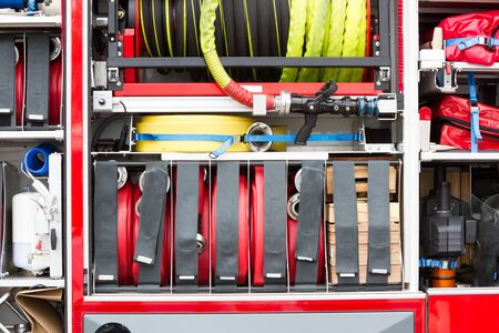 Close-up of equipment in a firetruck in the Netherlands Banque d'images - 130817470