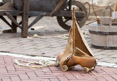 Old dutch clog made into a toy, sailing boat