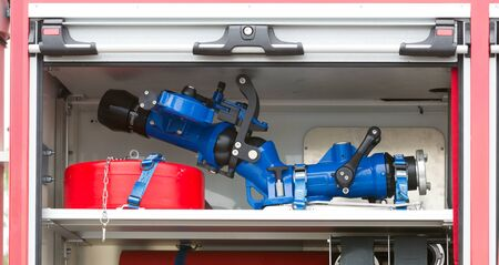 Close-up of equipment in a firetruck in the Netherlands Banque d'images - 130817474